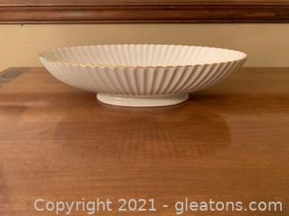 Lovely Lenox Oval Bowl W/ Ribbed & Scalloped Edge, W/ Gold Trim