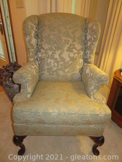 Lovely Green Wingback Chair