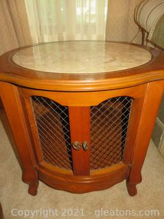 Attractive Round End Table (A) With Marble Top