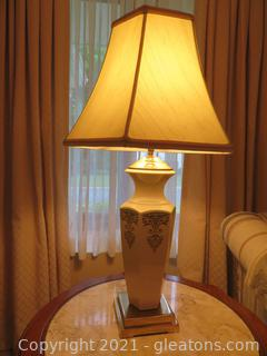 Lovely LENOX Ivory Lamp with Brass Detail (A)