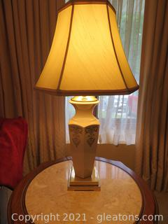 Lovely LENOX Ivory Lamp with Brass Detail (B)