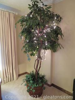 Enormous Faux Ficus Tree in Rattan Basket with Lights