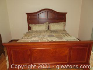 Gorgeous Cherry King Bed, Mattress, Box Springs and Linens