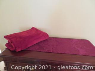 Cranberry Red Table Runner and Blanket Throw
