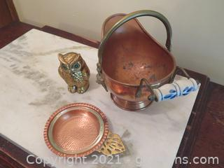 Copper and Brass Fire Pot, Copper and Brass Bowl and Brass Owl
