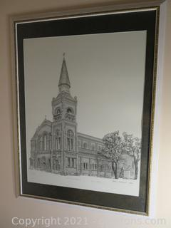 Original Pencil Drawing of St. Mary's Cathedral by James Corbett, COA