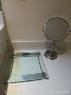 Homedics Digital Bathroom Scale and Brushed Nickel Makeup Mirror