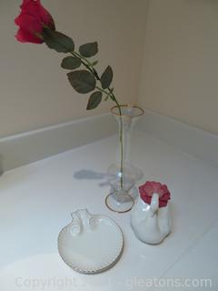 Lot of 3:Lenox Seashell, Handmade Swan and Gold Trimmed Flower Vase