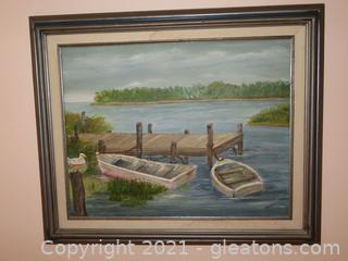 Beautiful Oil on Canvas of Dock and Two Boats