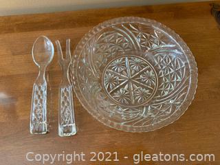 Anchor Hocking Cut Glass Salad Bowl & Tongs