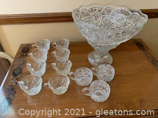 Large Cut Glass Punch Bowl W/ Base & Cups (Lot of 13)