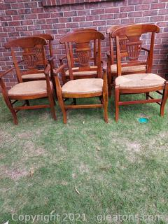 6 French Country Wooden Chairs with Cane Bottoms