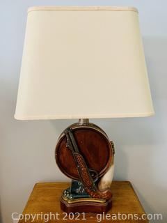 Unique Barrel Gun and Horn Table Lamp