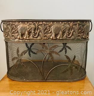 Metal and Mesh Elephant and Palm Metal Basket