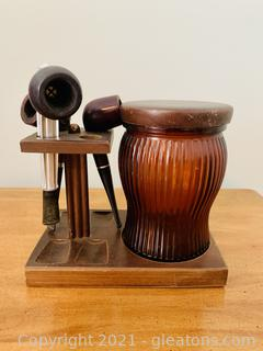 Collectible Pipe Stand and Tobacco Jar