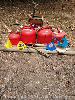 Lot of Gas Cans,Funnels ,Grease Gun, Garden Sprayer
