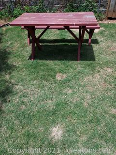 Outside Wooden Picnic Table with Bench