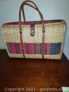 Retro Straw Beach Bag