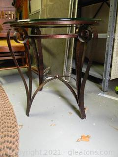 Heavy Round Glass Side Table with Metal Base