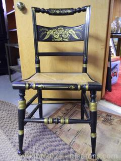 Beautiful Black and Gold Hitchcock Chair
