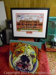 UGA Cheerleading Signed Picture, UGA Bulldog Painting & Red Chair