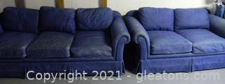 Comfortable Denim Sofa & Loveseat
