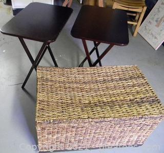 Wicker Storage Chest & Wooden Tray