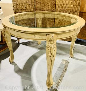 Distressed Round Glass Top Dining Table