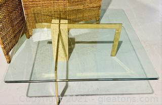 Natural Stone Square Glass Top Coffee Table