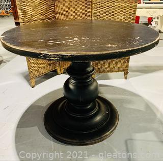 Distressed Black Pedestal Dining Table