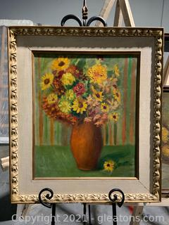 Canvas Framed Oil Painting of Autumn Flowers