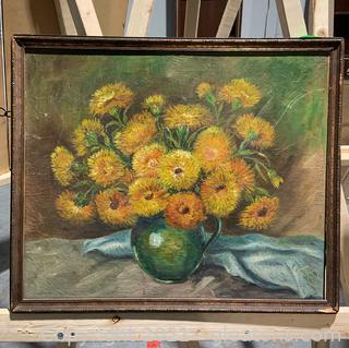 Delicate Oil Painting of Yellow Flowers in Green Vase