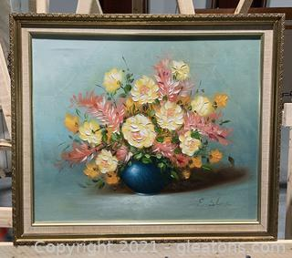 Canvas Framed Oil Painting of Yellow and Pink Flowers in Blue Vase