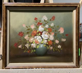 Floral Framed Canvas Art Flowers in Vase