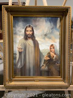 Original Joseph Wallace King Oil Painting of Jesus and Mary