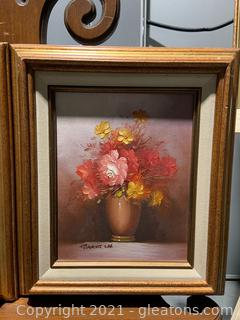 Framed Floral Still Life Painting by Robert Cox