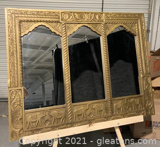 Oversized Heavy Maple Arched Wooden Carved Mirror