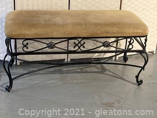 The Bombay Co. Cushioned Bench W/Ornate Metal Base