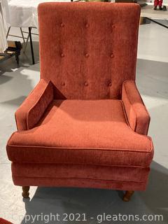 High Backed Tufted Velvet Arm Chair
