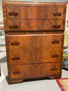 Art Deco Waterfall Style Burl Wood 5 Drawer – Chest of Drawers