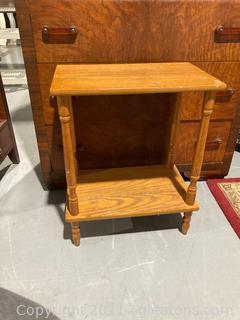 2 Tier Golden Oak Side Table