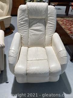 Leather Recliner/Swivel Chair-Cream