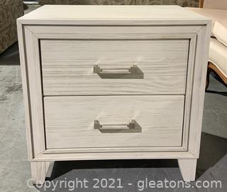 Distressed White Nightstand