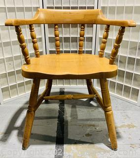 Slat Back Wooden Barrel Chair