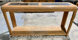 Wood Console Table with Glass Top