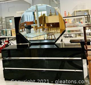 Black Lacquer Finish 6 Drawer Dresser