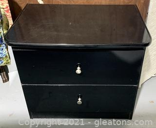 Mid Century Modern Black Lacquer Finish 2 Drawer Night Stand