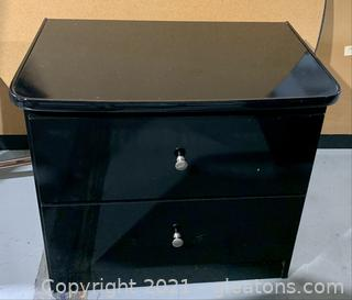 Mid Century Modern, Black Lacquer Finish, 2 Drawer Night Stand