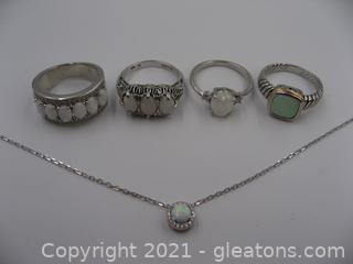 Lab Opal and Silver Tone Jewelry Lot
