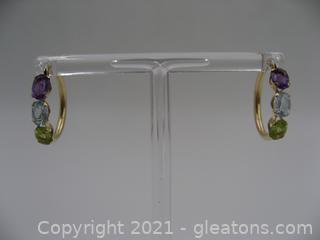 14kt Yellow Gold Gemstone Hoop Earrings